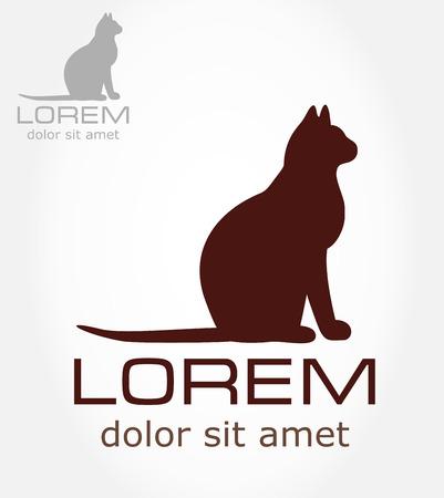 silueta de gato: símbolo de gato - gatito ilustración vectorial Vectores
