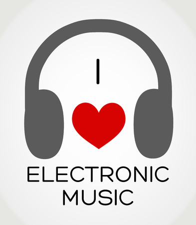 electronic music: Vector abstract background - I love the electronic music