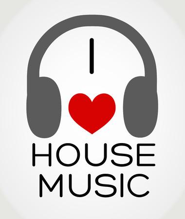 벡터 추상적 인 배경 - 나는 집 음악을 사랑