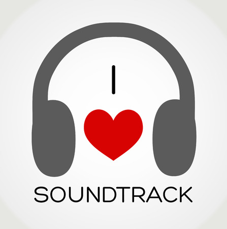 soundtrack: Vector abstract background - I love the soundtrack music Illustration