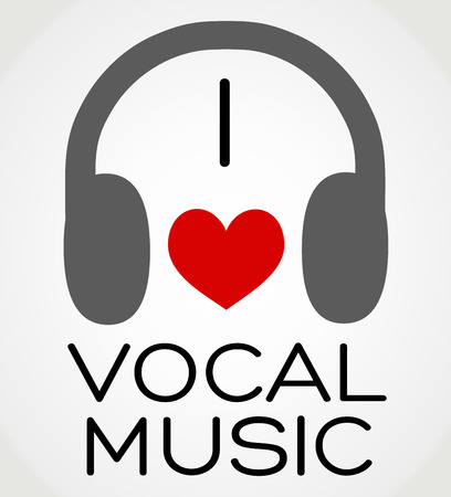 Vector abstract background - I love the vocal music