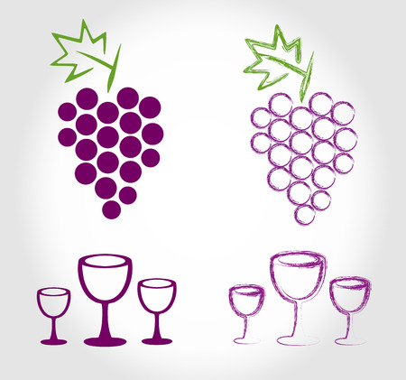 grapes and wine glasses Vector