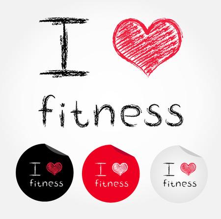 I love fitness  Vector illustration