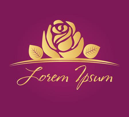 Gold rose vector logo