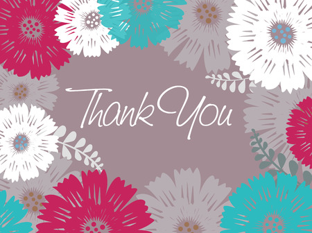 Thank you card - colored flowers vector Vector