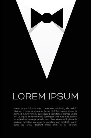 garment label: Tie bow vector - flyer suit  Businessman shirt  Illustration