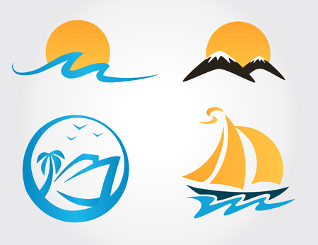 set of travel icons mountains, waves, yacht Vector