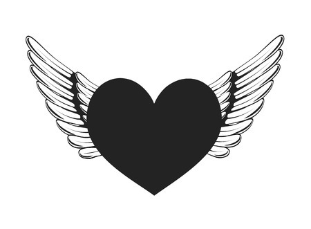 Heart and Wings flying symbol Vector