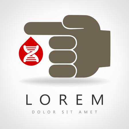 molecule symbol: DNA and molecule symbol. Blood from a finger DNA.