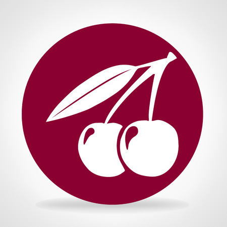 Two cherries with leaves.  Vector