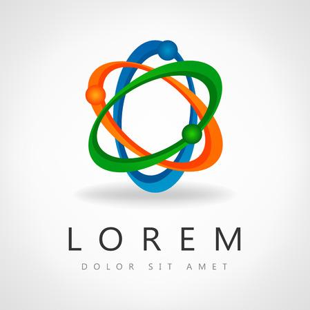 abstract atom icon design