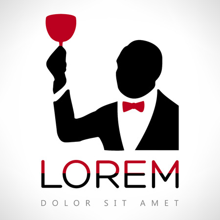 smelling: man with wine glass vector