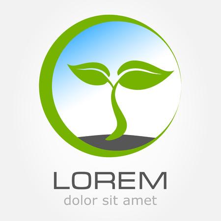green environment: Eco symbol green leaf vector illustration Illustration