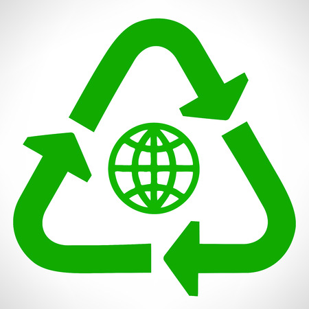 breadth: Green recycle symbol. Globe vector.