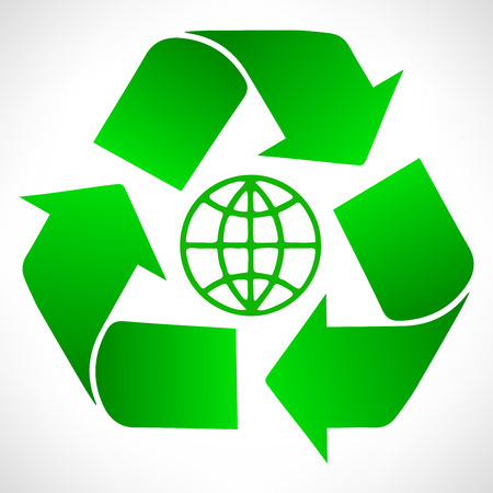 Green recycle symbol. Globe vector.