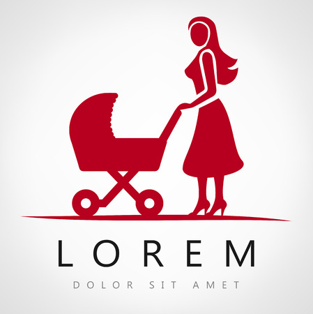 stroll: Mother with a baby carriage vector illustration