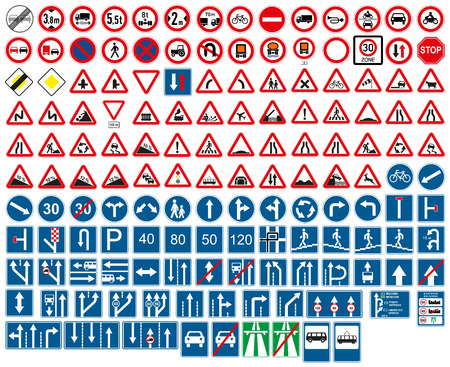 cars on the road: road signs Illustration