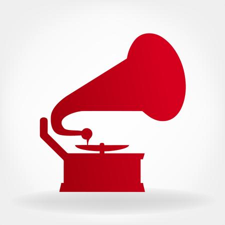 gramophone: Gramophone silhouette. Illustration