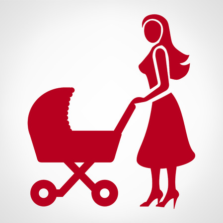 mother baby: Mother with a baby carriage illustration.