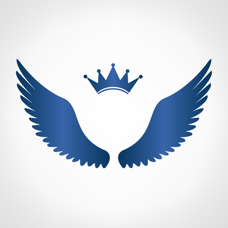 crown wings: Wings and crown symbol illustration. Illustration
