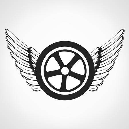 Wings and tire illustration. Illustration