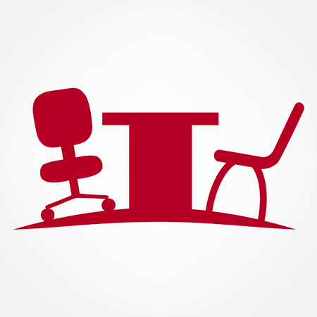 office furniture: office furniture chair and desk symbol illustration Illustration