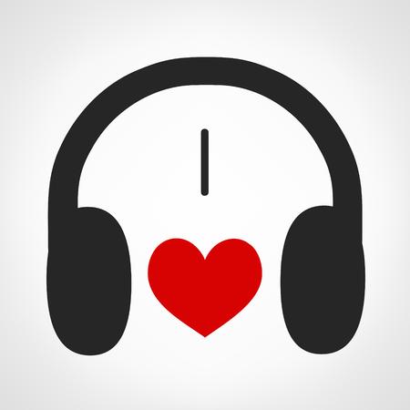 oldies: headphone; i love music. Illustration