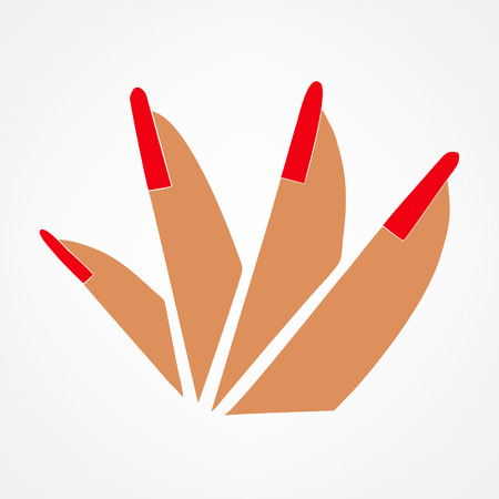 female hand and red manicure . vector illustration. Illustration