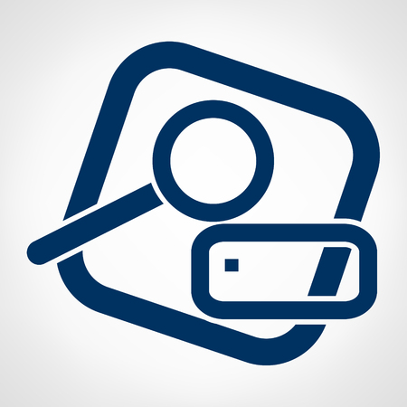 Search for files. Magnifying glass and a hard disk.