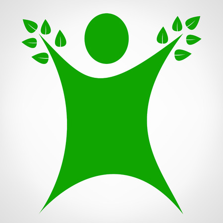 in unison: Vector man icon with green leaves