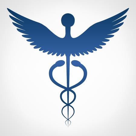 Caduceus medical  . Emblem for drugstore or medicine.