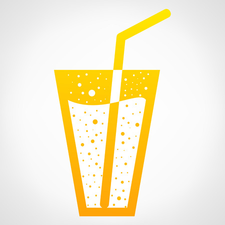 aperitif: illustration of glass and straw on white background