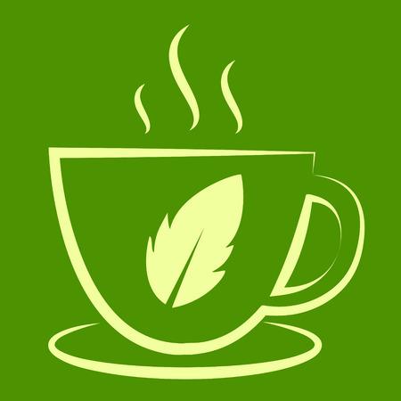 steam of a leaf: tea cup vector Illustration