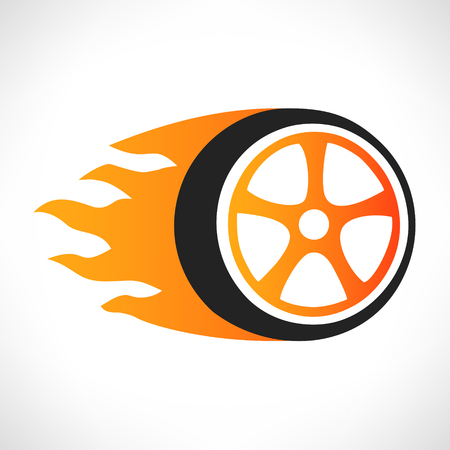 flame logo: Wheel in Fire flame logo vector Illustration