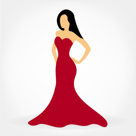 Frau in einem roten Kleid. Mode Frau, Handzeichnung Illustration. Vektorgrafik