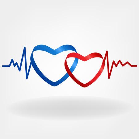 Zwei Herzen. Herzschlag-Design