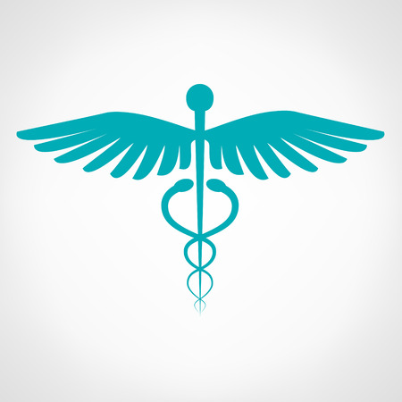 caduceus snake with stick: Caduceus medical symbol. Emblem for drugstore or medicine.