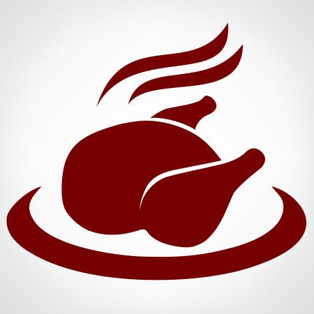 Roast chicken sign icon. Hen bird meat Illustration