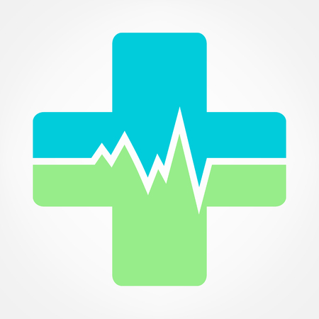 electrocardiograph: pharmacy cross and Heartbeat electrocardiograph icon vector