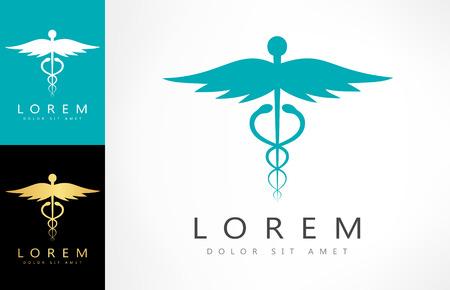 medicaid: Caduceus medical . Emblem for drugstore or medicine.