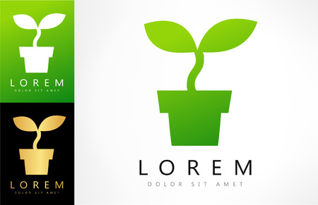 science symbols metaphors: potted plant vector design with business card template editable.