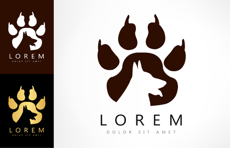Dog footprint. Paw print logo. Illustration