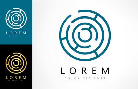 Labirinto astratto logo. Puzzle logica rebus. Logo