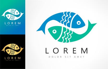 salmon leaping: Fish logo vector Illustration
