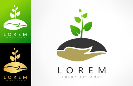 gold leaf: hands holding plant vector logo Illustration