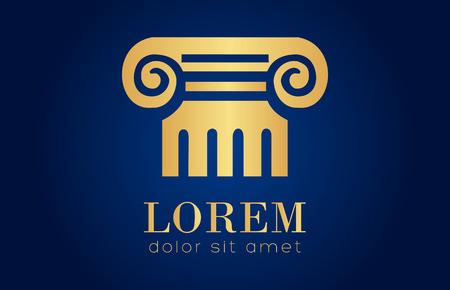 Architecture - vector logo concept. Gold Antique column abstract sign.