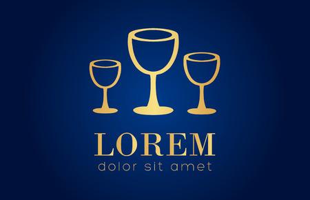 clink: Golden wine glasses logo