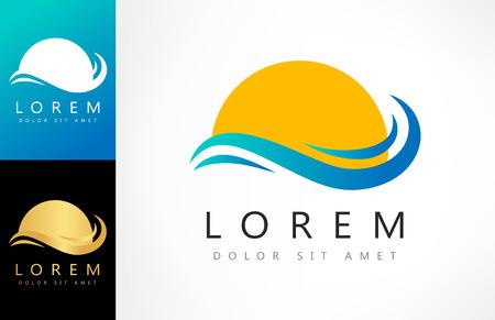 golden dusk: waves and sun logo vector