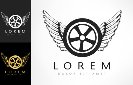 Wings and tire logo. Vector illustration.