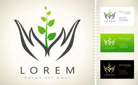 manos que sostienen el logotipo de vector de la planta